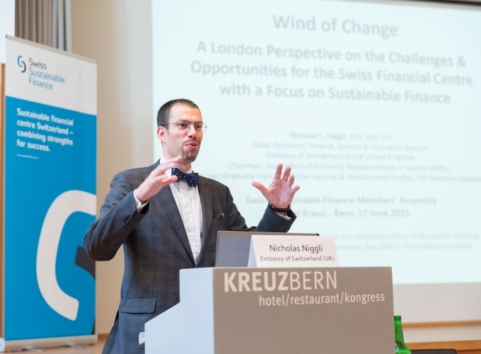 Nicholas Niggli, Swiss Embassy in London, gives his keynote speech