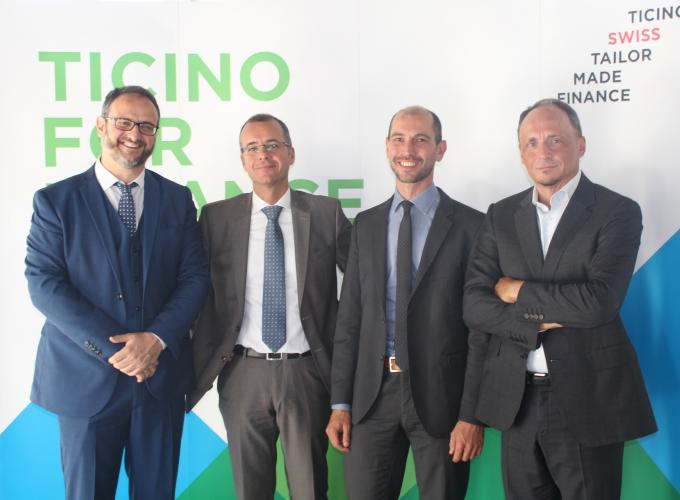 The speakers and Franco Citterio (President Ticino for Finance)