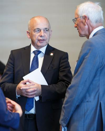 Ueli Maurer, President of the Swiss Confederation, arrives at the event