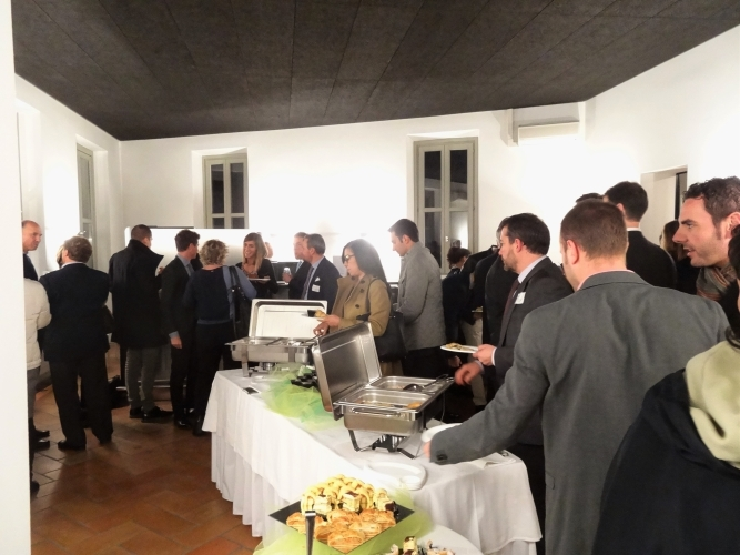 Participants enjoy refreshments after the event